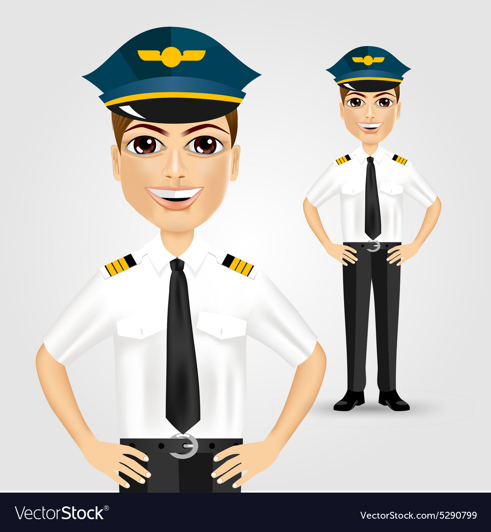 Friendly pilot with hand on hips