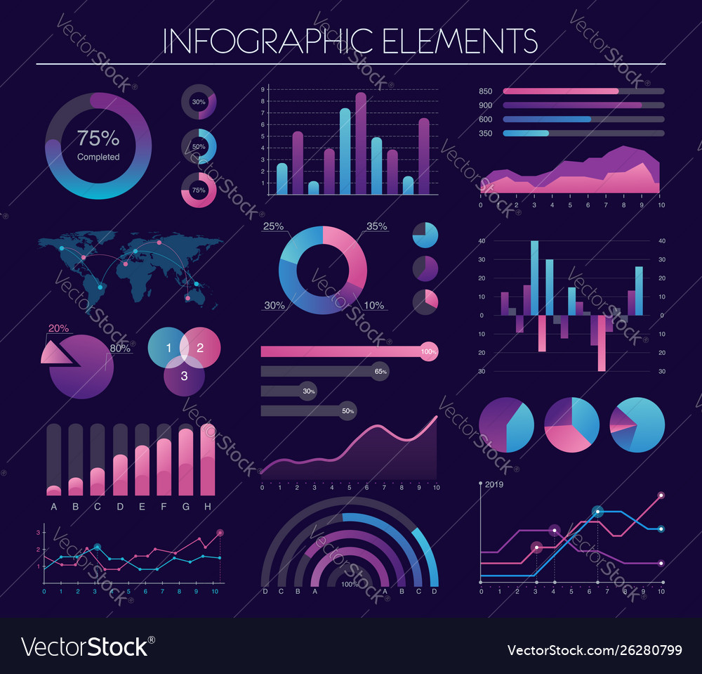 Infographic elements with diagrams charts graphs