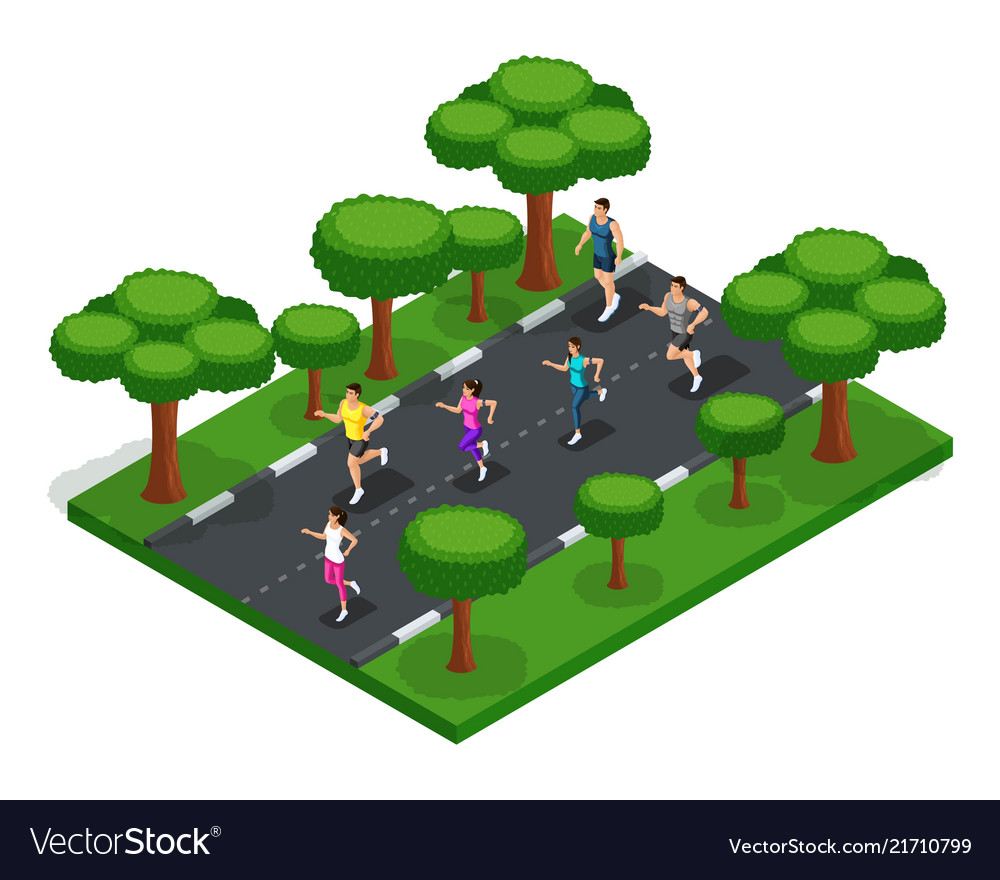 Isometric jogging in the park of young people