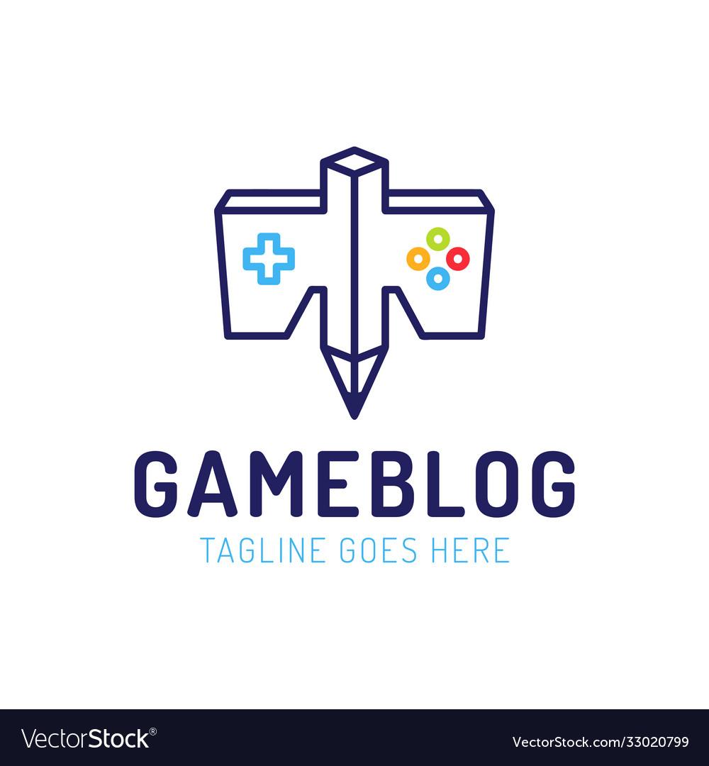 Joystick game controller and pencil logo icon