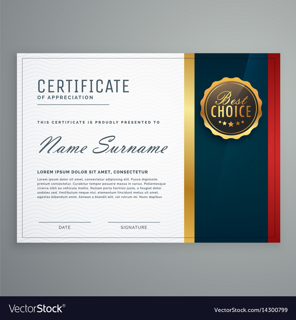 premium style modern certificate template design vector image