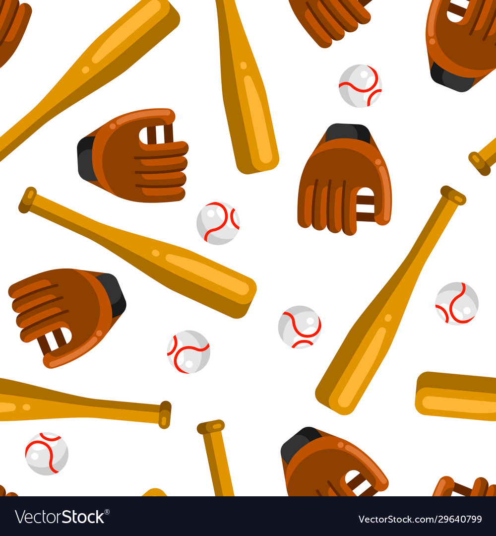 Seamless pattern with baseball gloves balls and