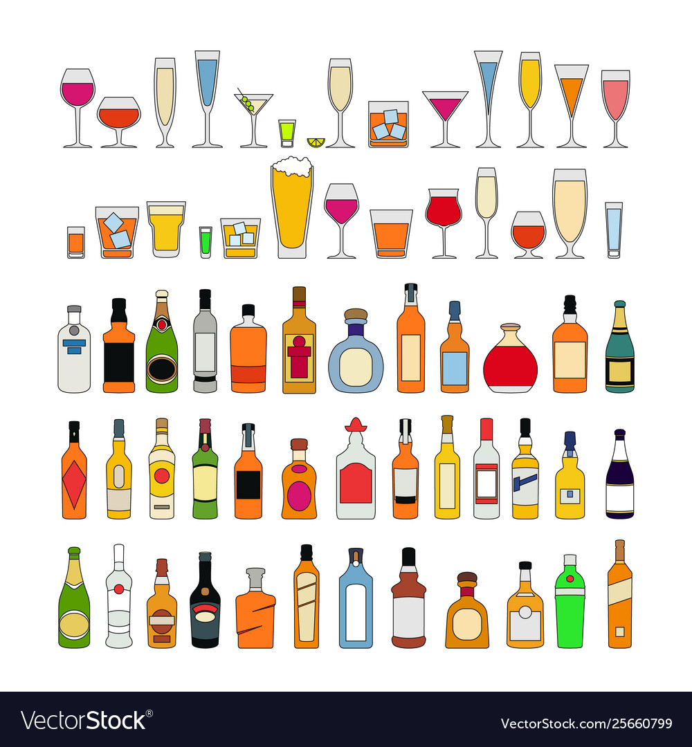 Set alcohol drinks in glasses isolated on