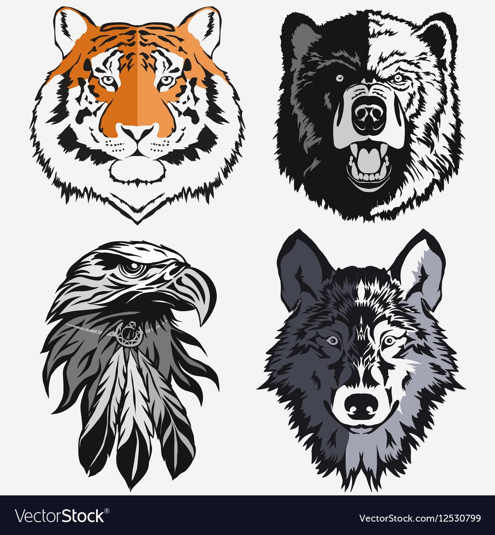 Tiger Eagle Wolf Bear logo set