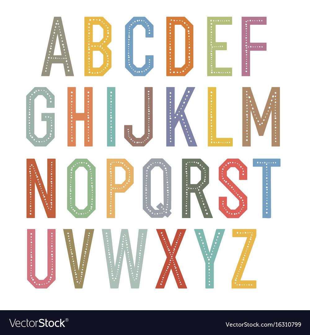 Vintage kids alphabet colorful letters