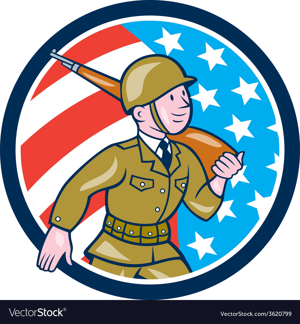 World War Two Soldier American Marching Cartoon vector image