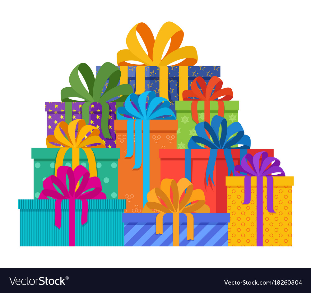 sc 1 st  VectorStock & Big pile of christmas gifts in holiday packages Vector Image