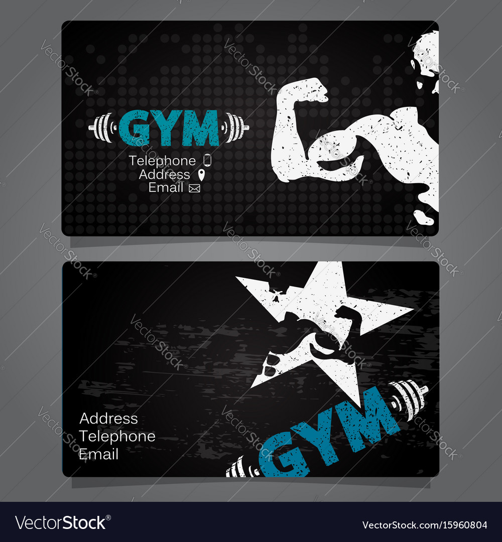 Business card gym and fitness Royalty Free Vector Image