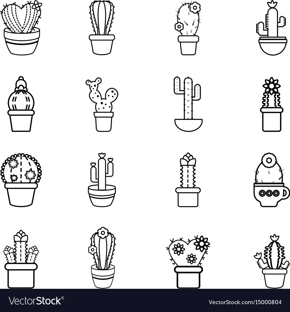 Cactus flower icons set outline style Royalty Free Vector  Cactus Flower Outline