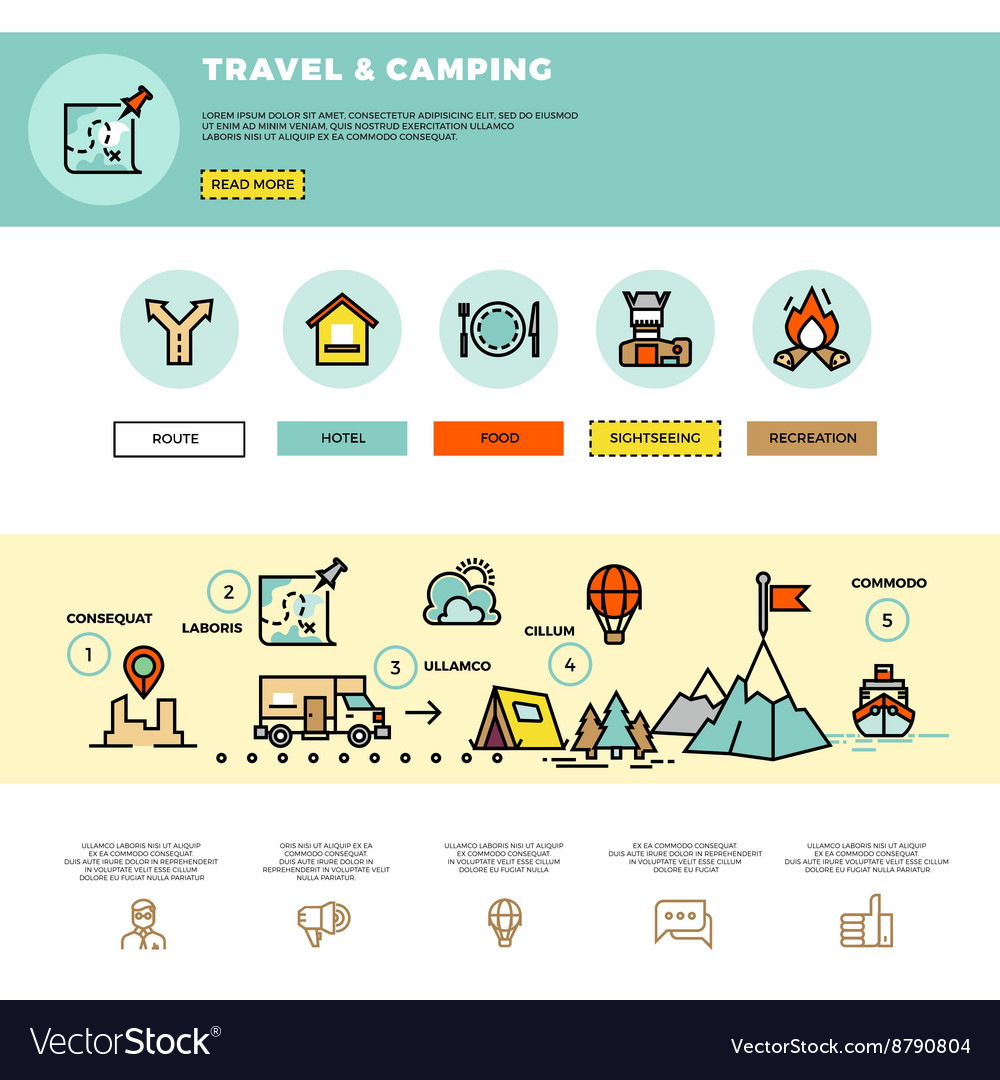 Camping traveling tourism infographic