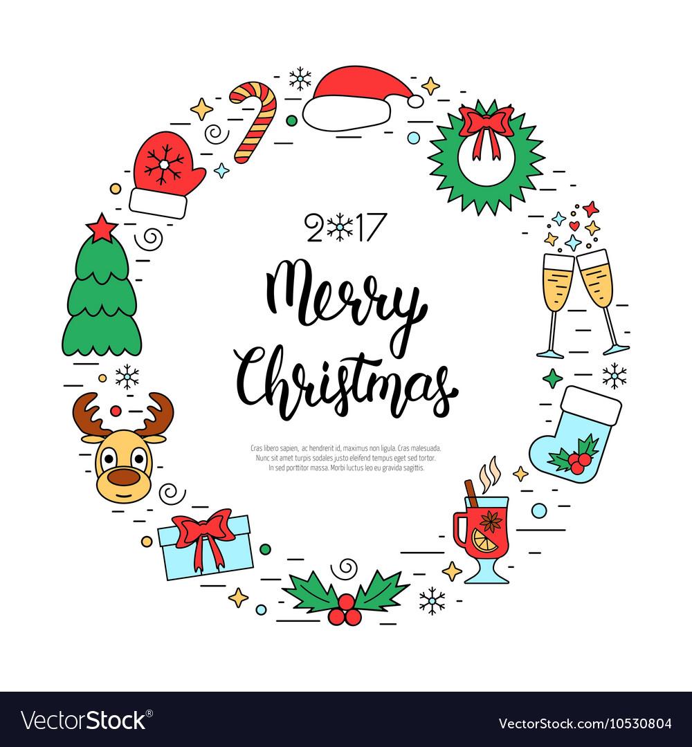 Colorful Christmas holidays frame with traditional