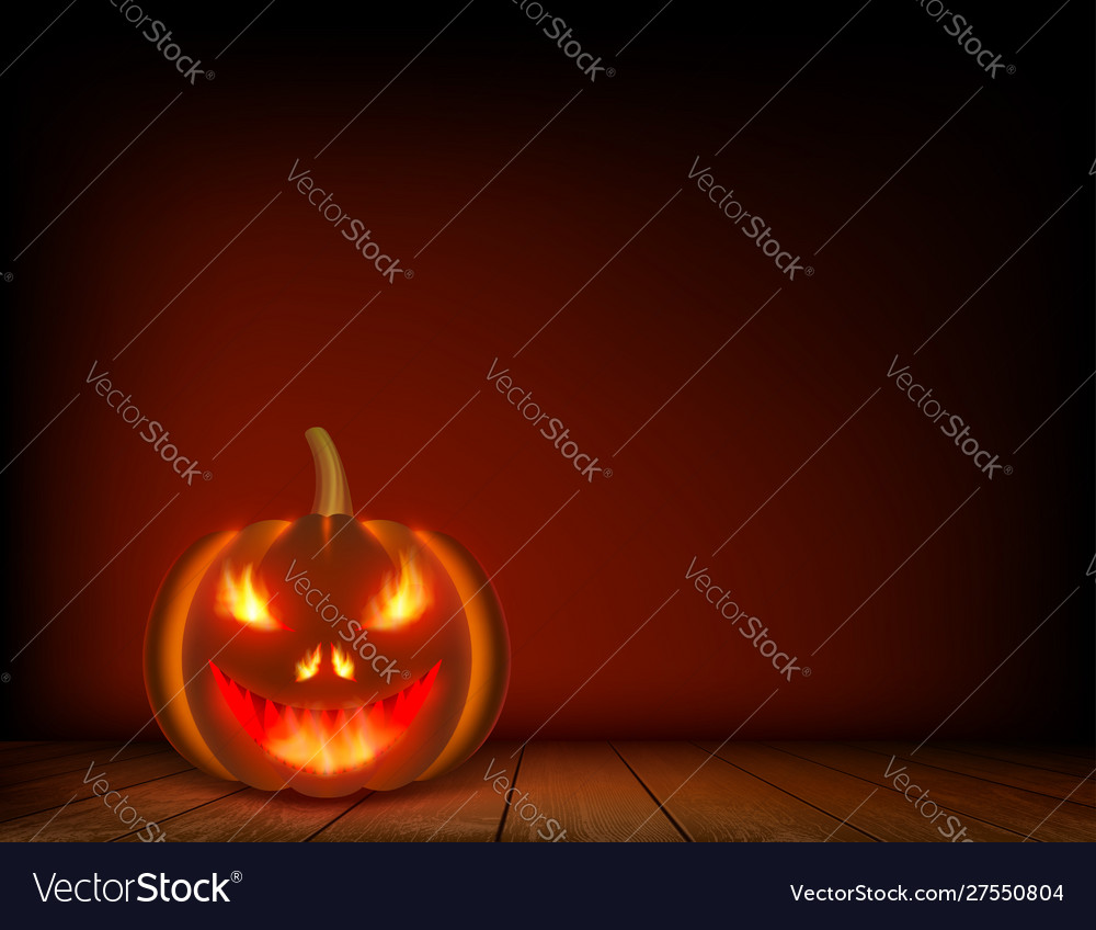 Halloween pumpkin on a wooden table