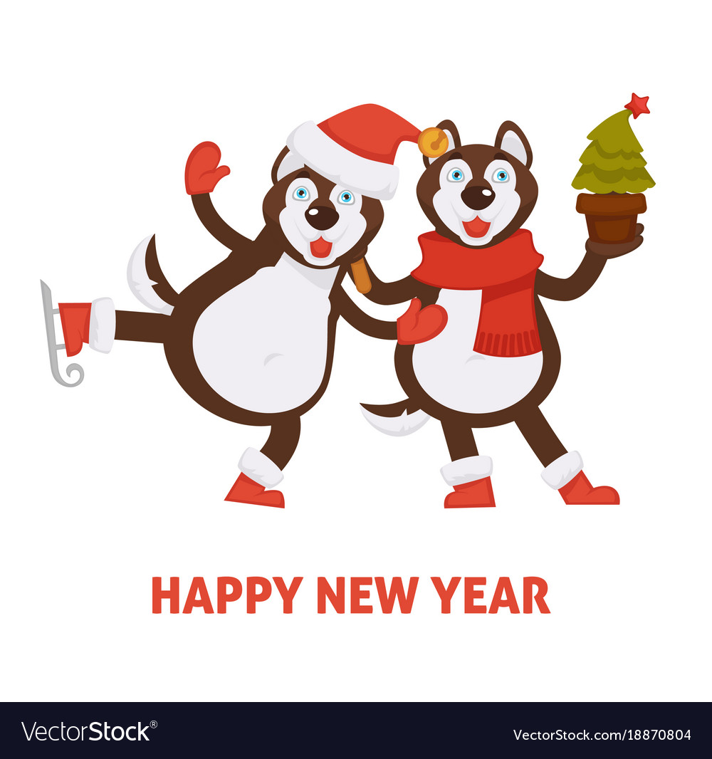 happy new year 2018 dogs cartoon in santa hat and vector image