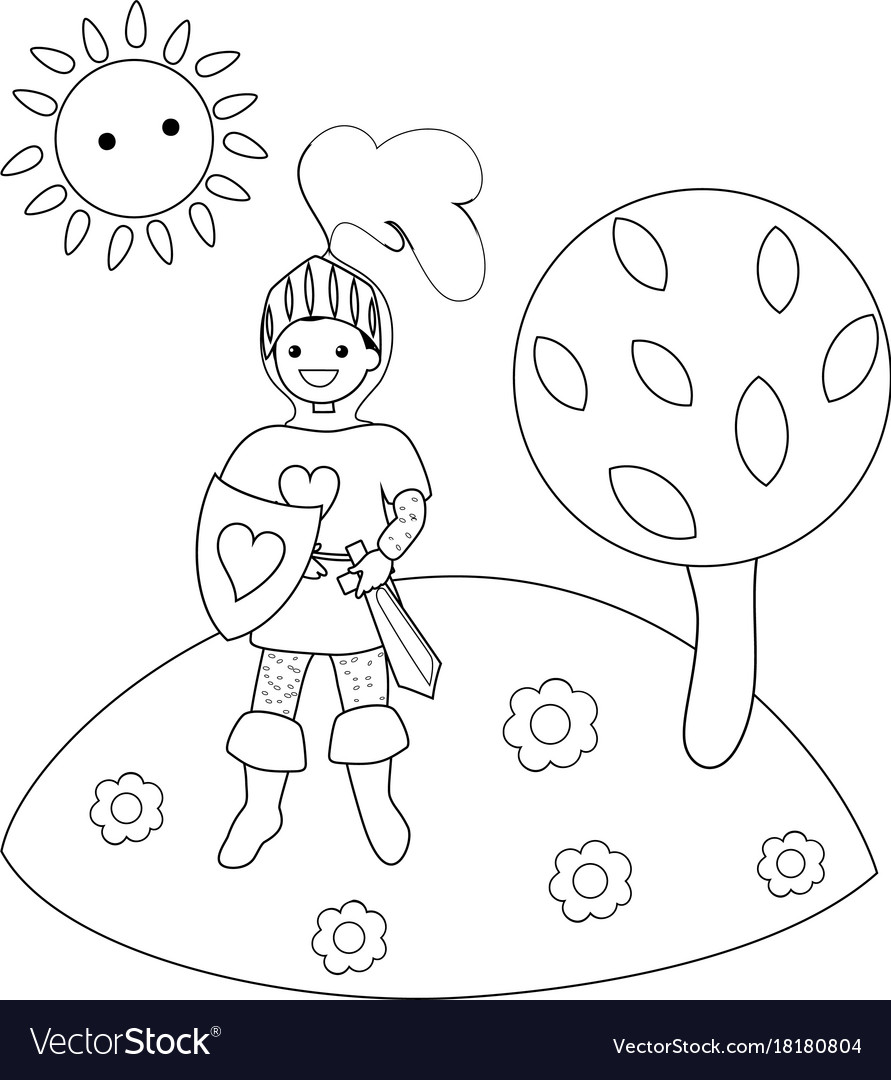 Knight in the clearing in the woods coloring book