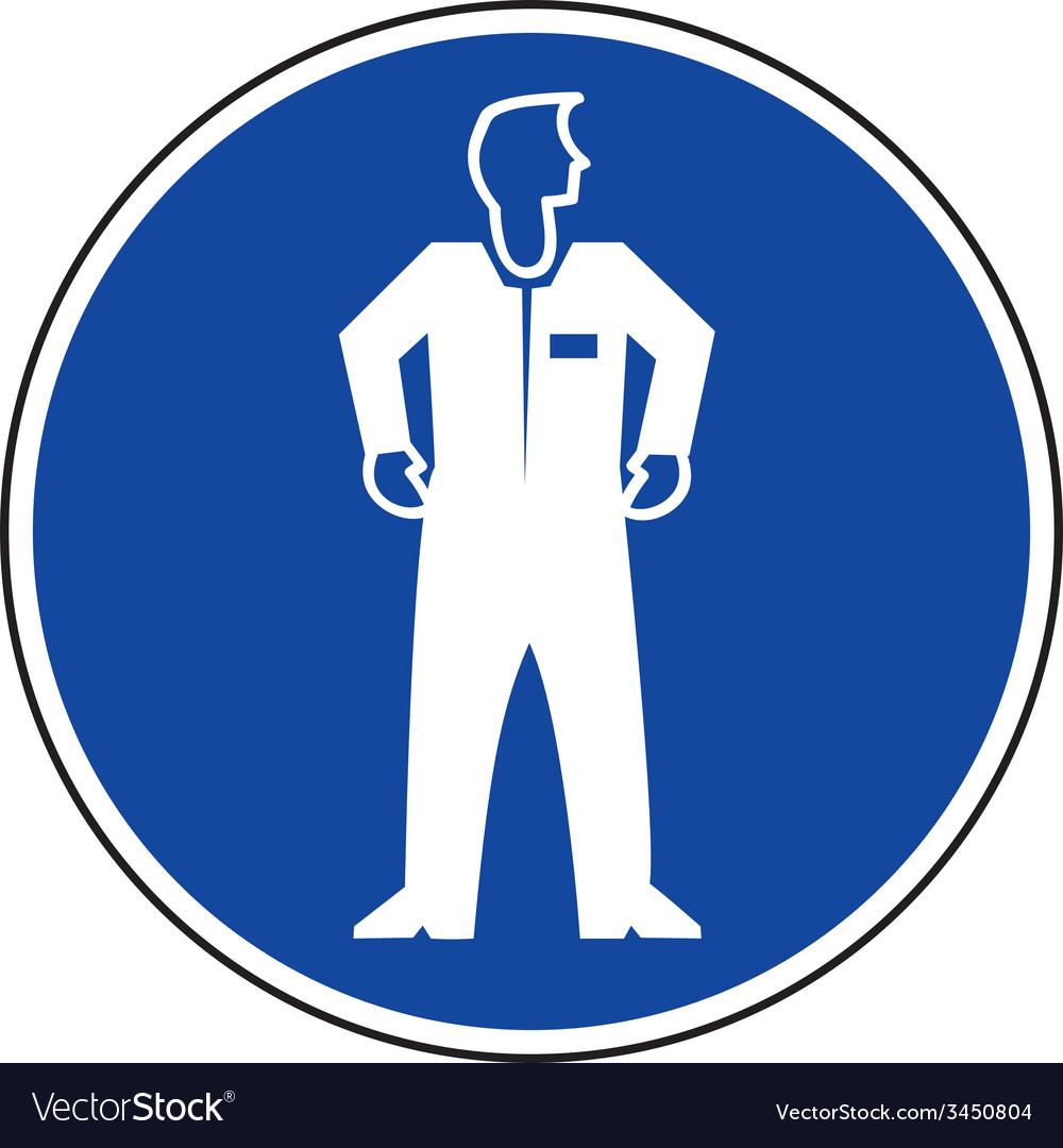 Protective clothing must be worn safety sign vector