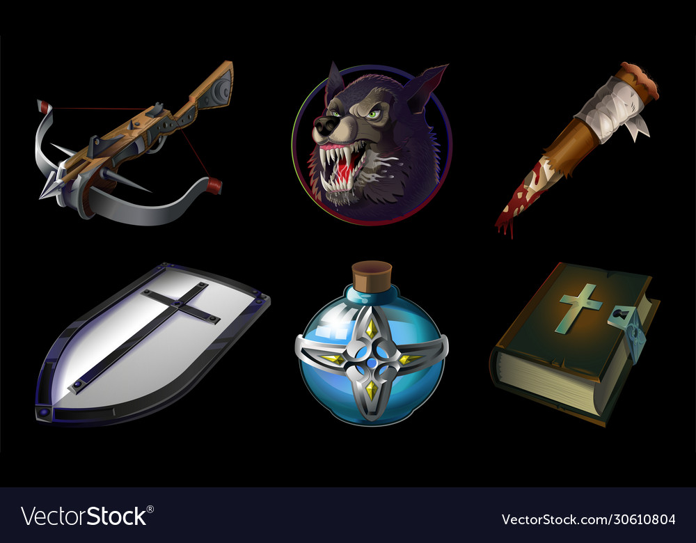 Set collection with realistic game icons