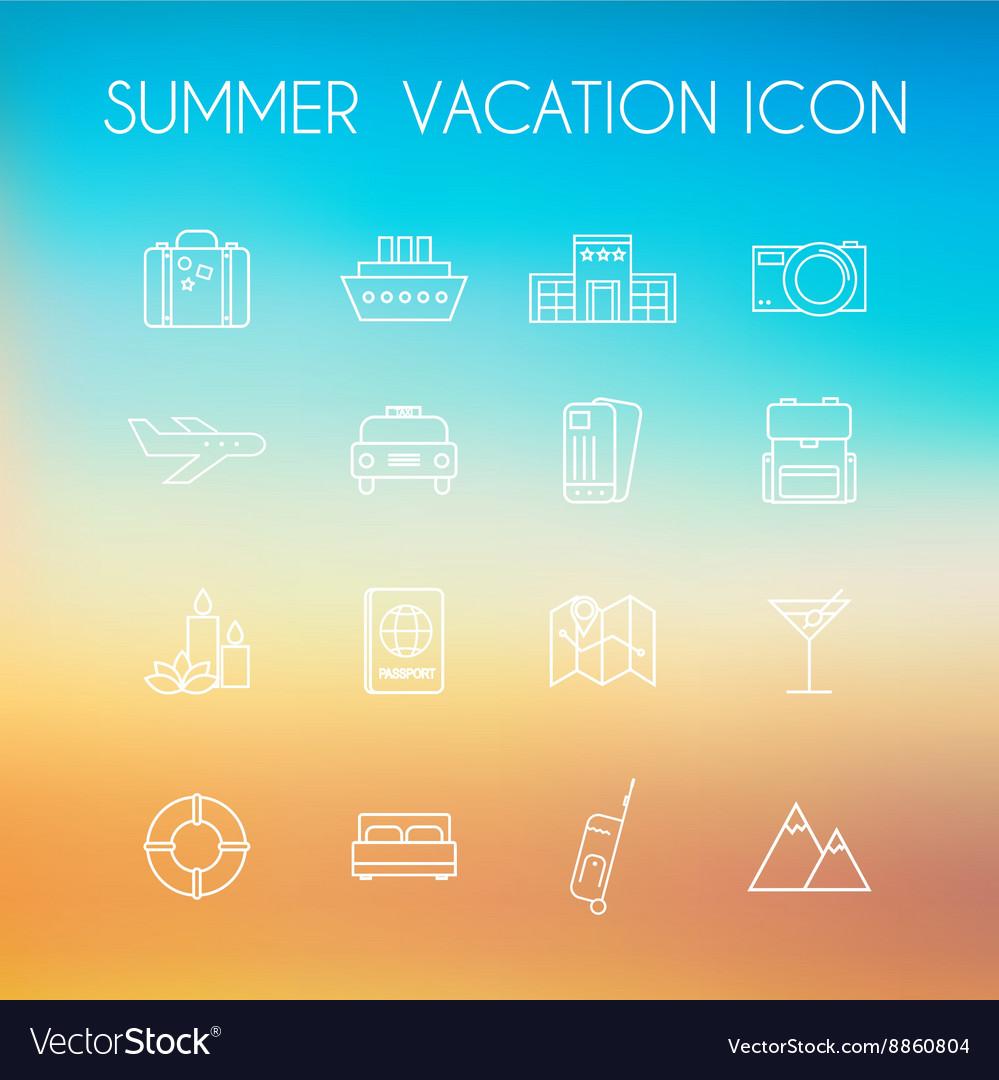 Summer icon set on a blurred background beach