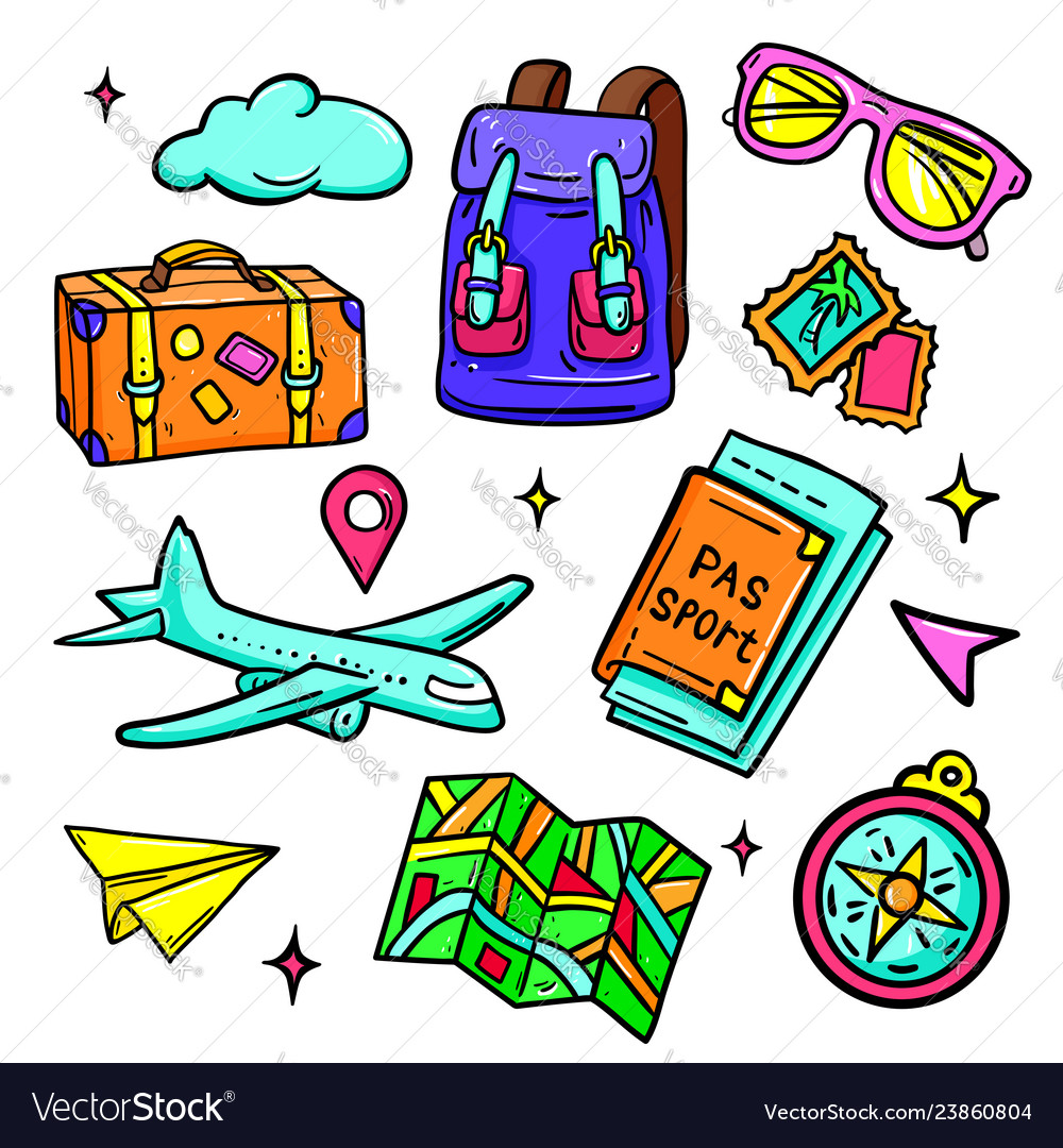 Travel and vacation - isolated stickers set