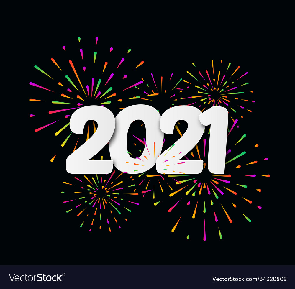 2021 happy new year with festive typographic