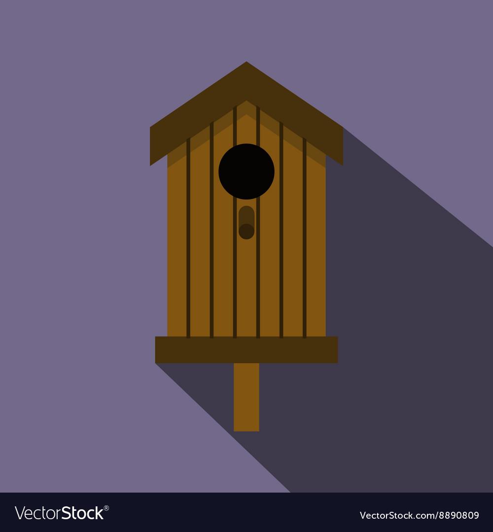 Bird house icon flat style
