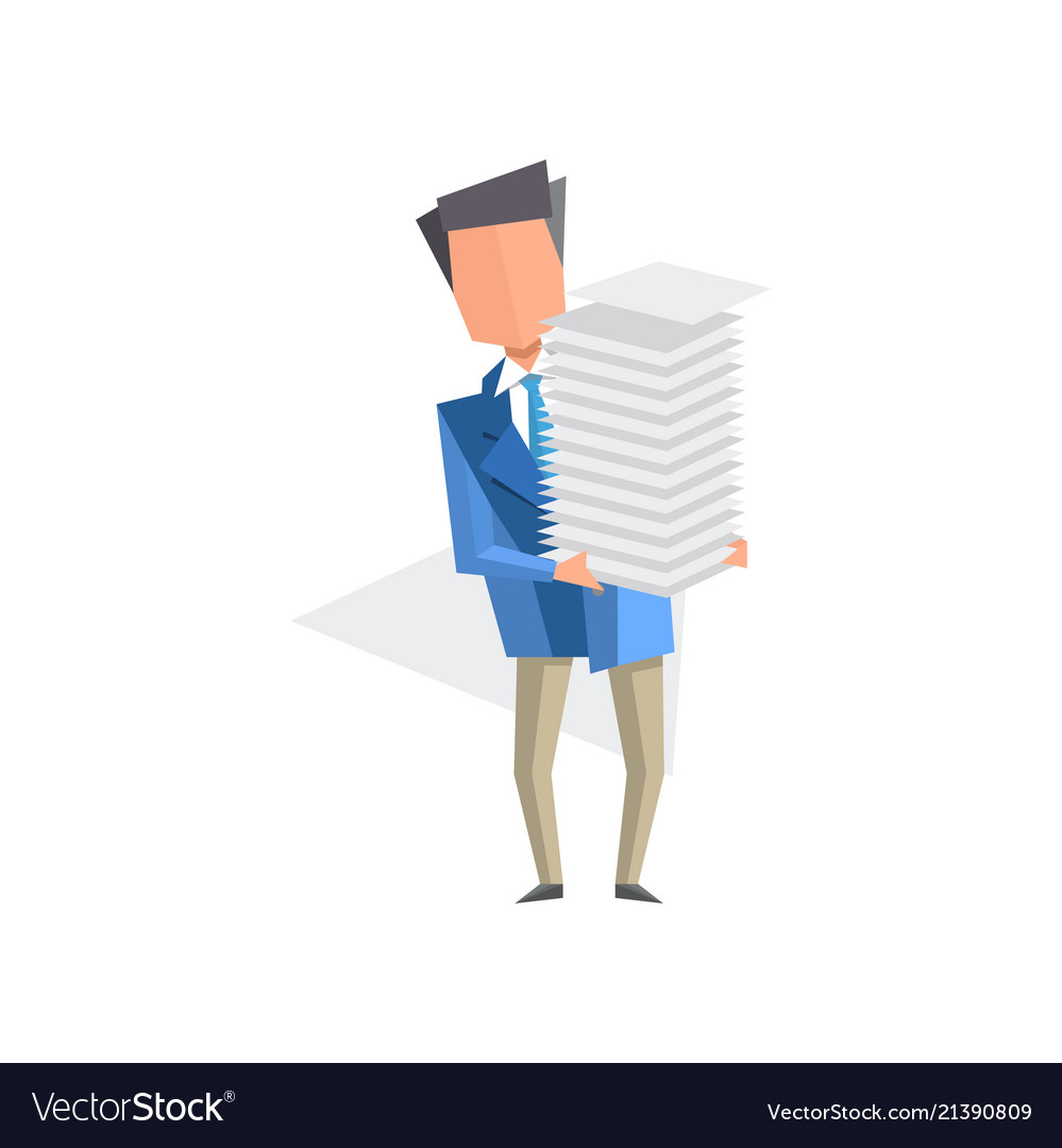 Businessman holding pile of office papers and