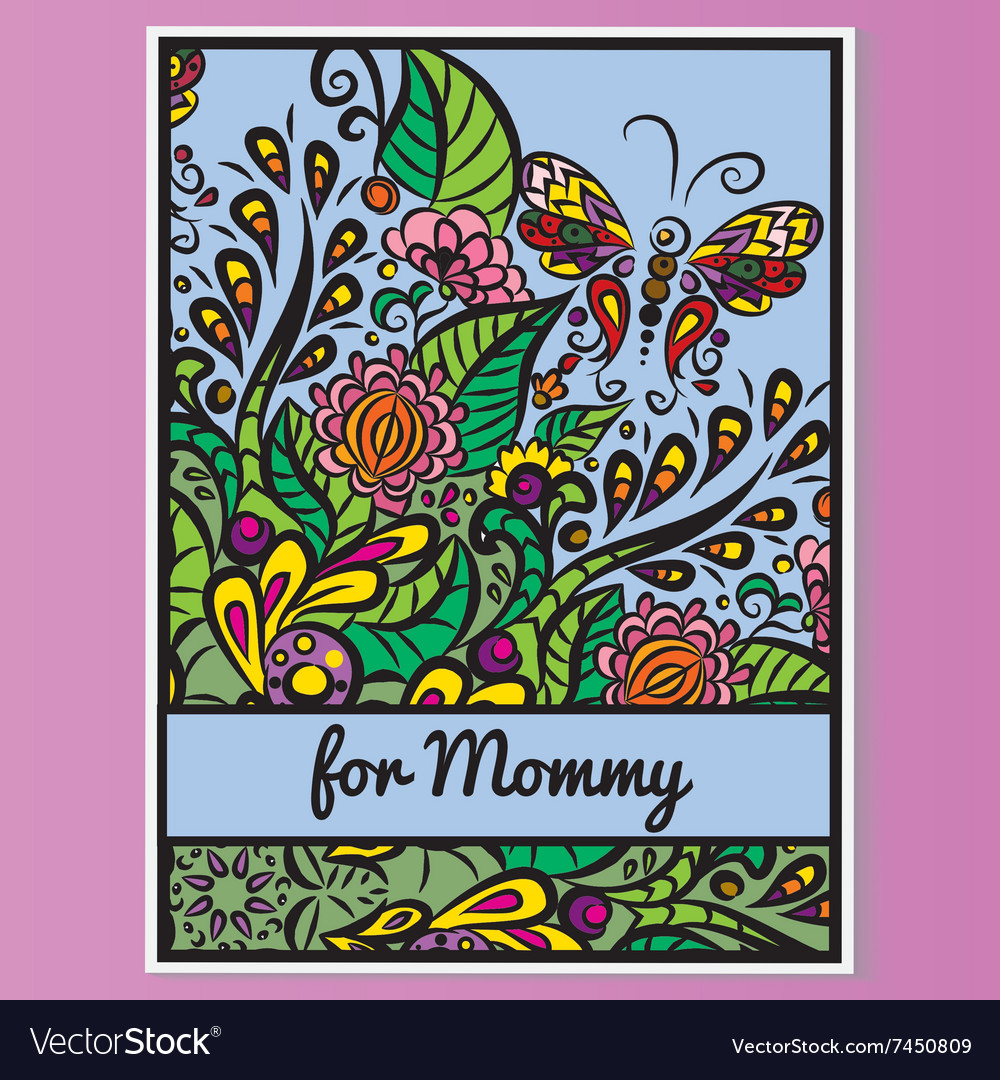 Card Mother day Pink background