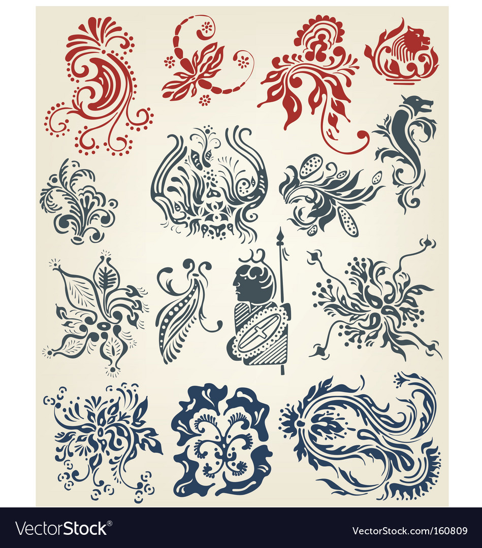 Floral tattoo design vector image
