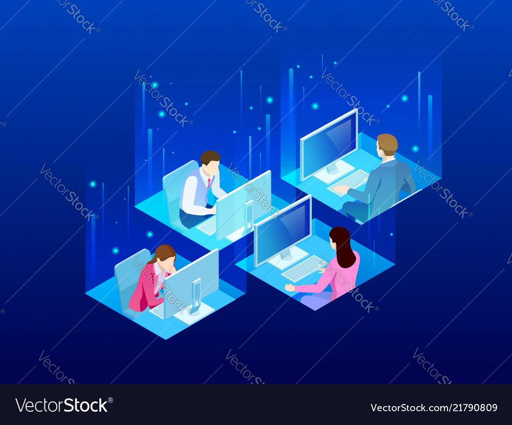 Four isometric office workers in the office