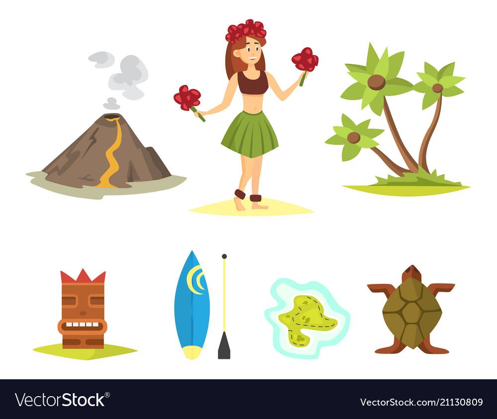 Hawaii icons dancer woman tiki gods totem pole