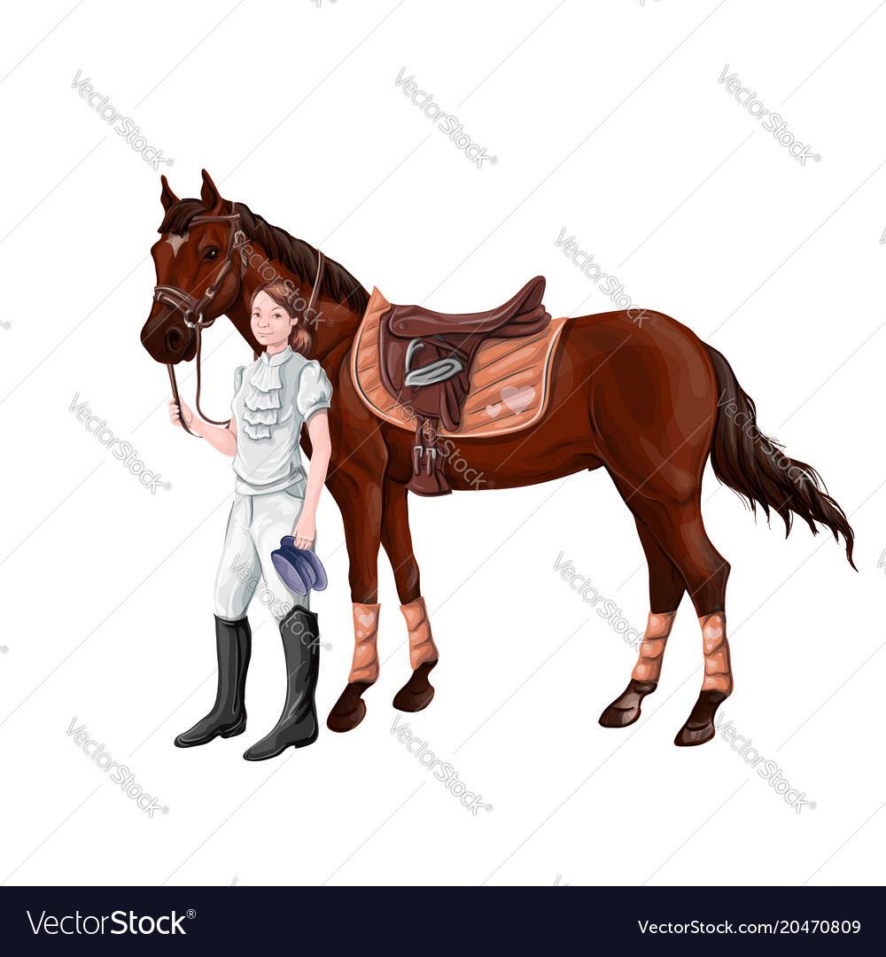 Horse and rider girl woman in ammunition for