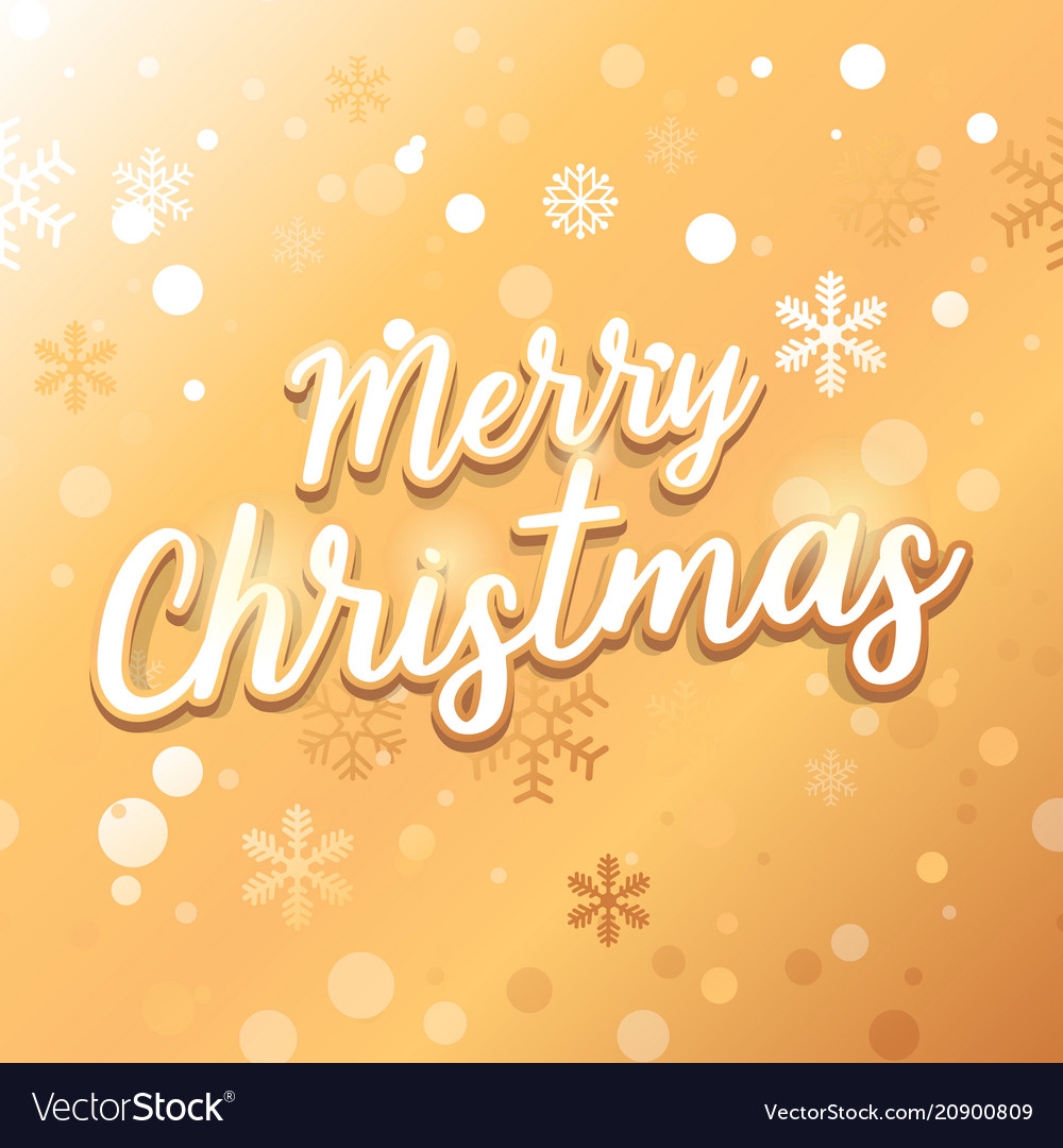 Merry christmas card with text on gold background