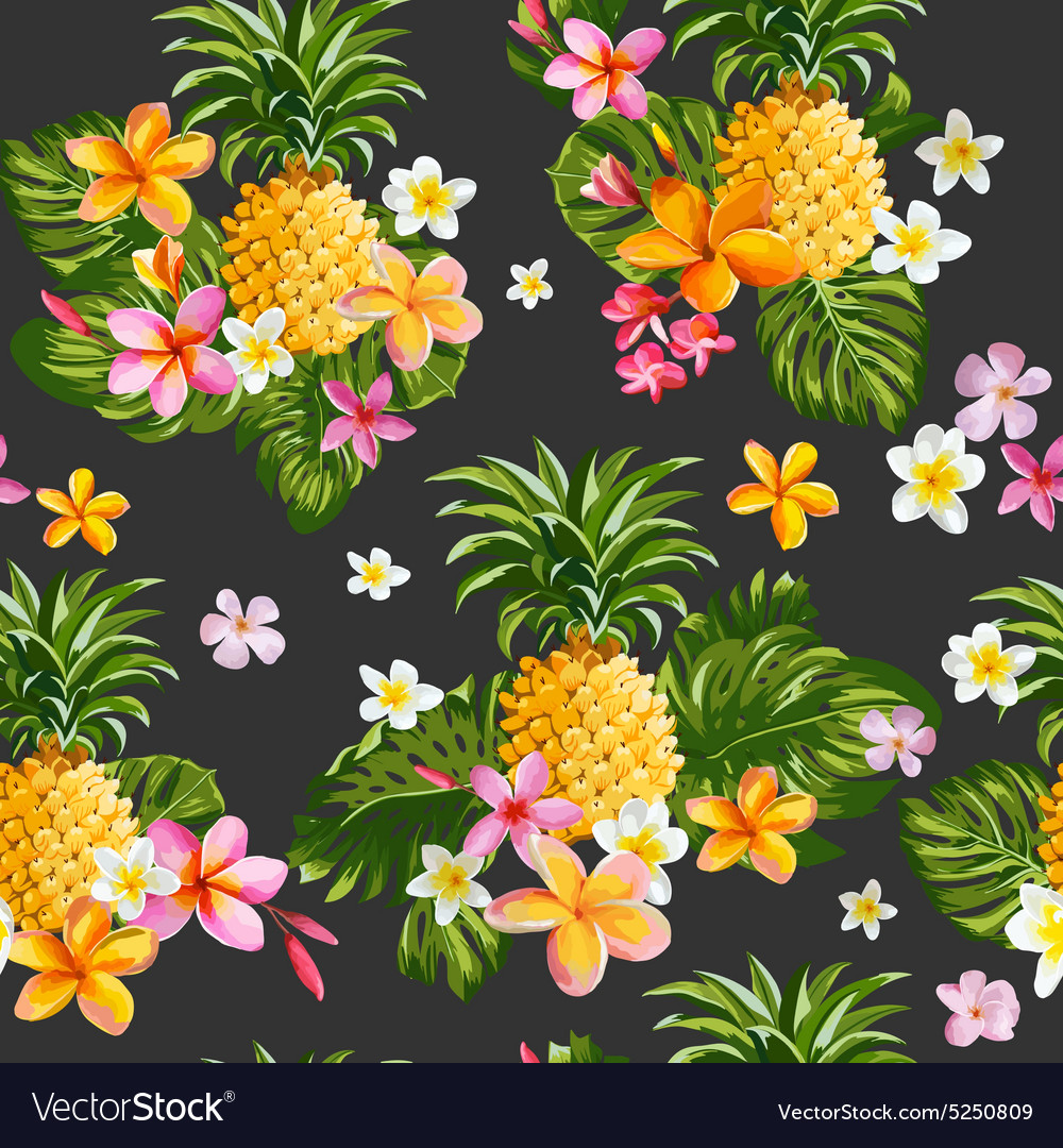 Pineapples And Tropical Flowers Background Vector Image