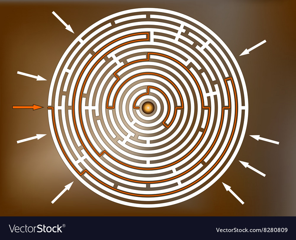 Reaching the goal in labyrinth brown vector image