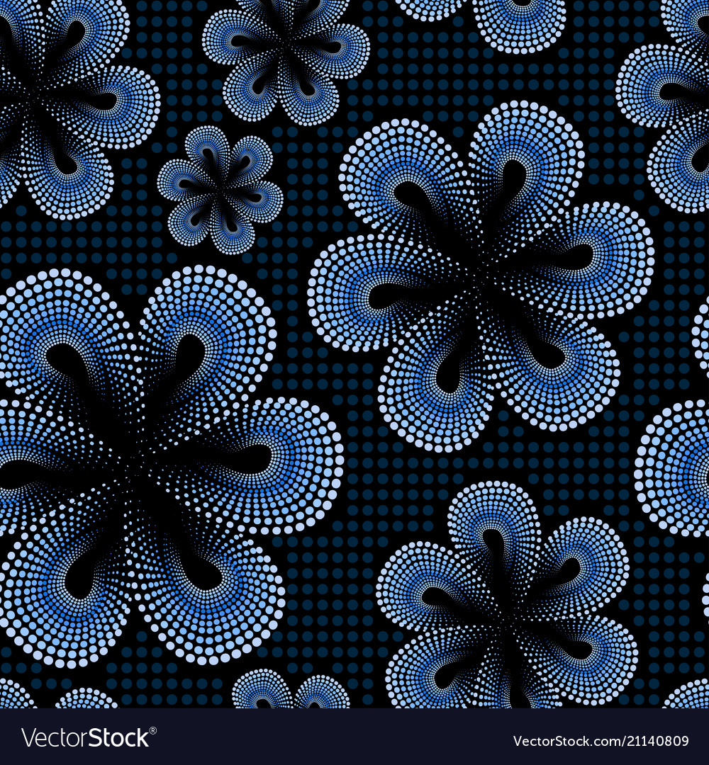 Seamless pattern with blue tiare dot flower