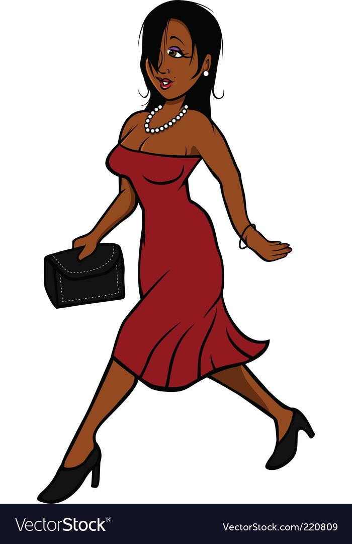 Sexy woman dress walking vector image