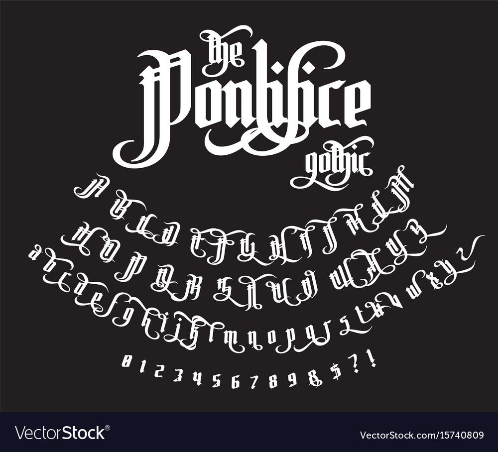 The pontifice - vintage gothic label font