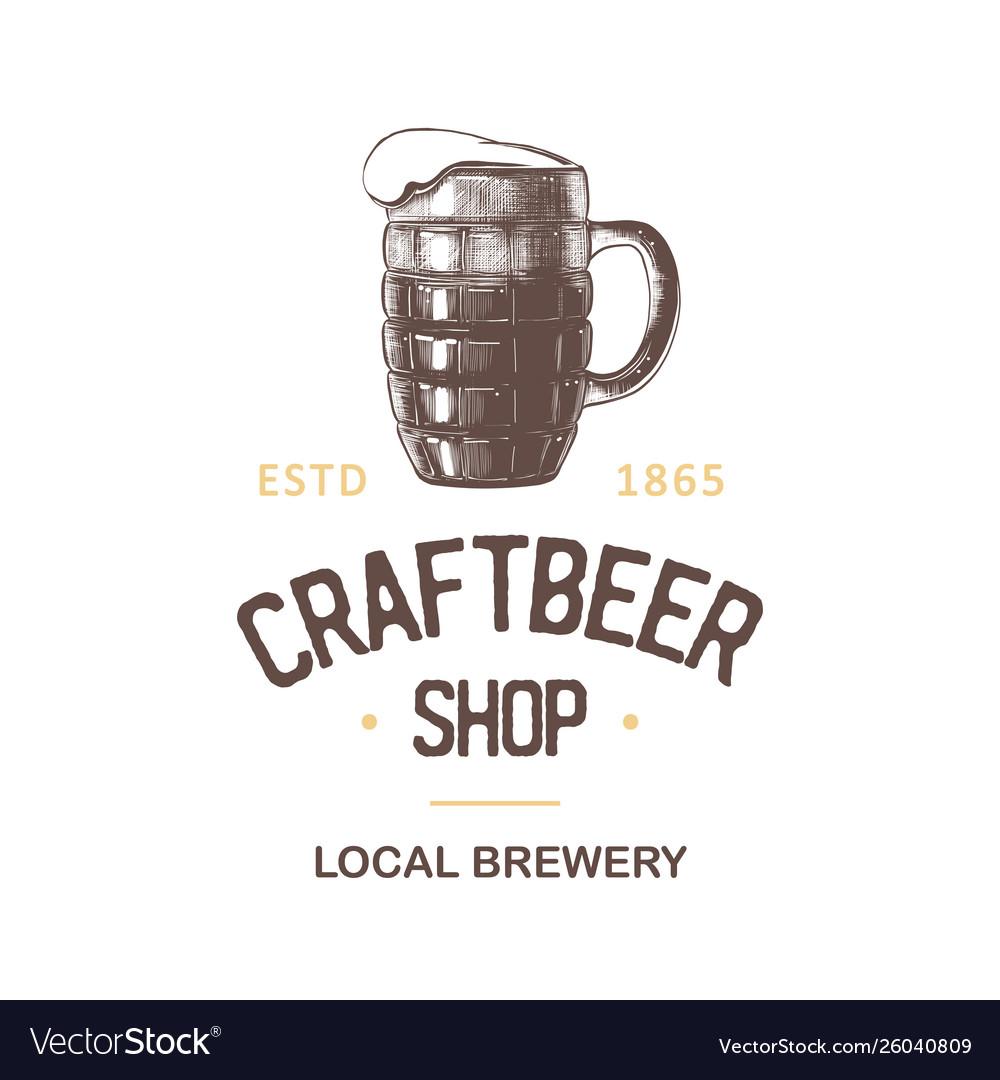 Vintage style beer shop label badge emblem logo