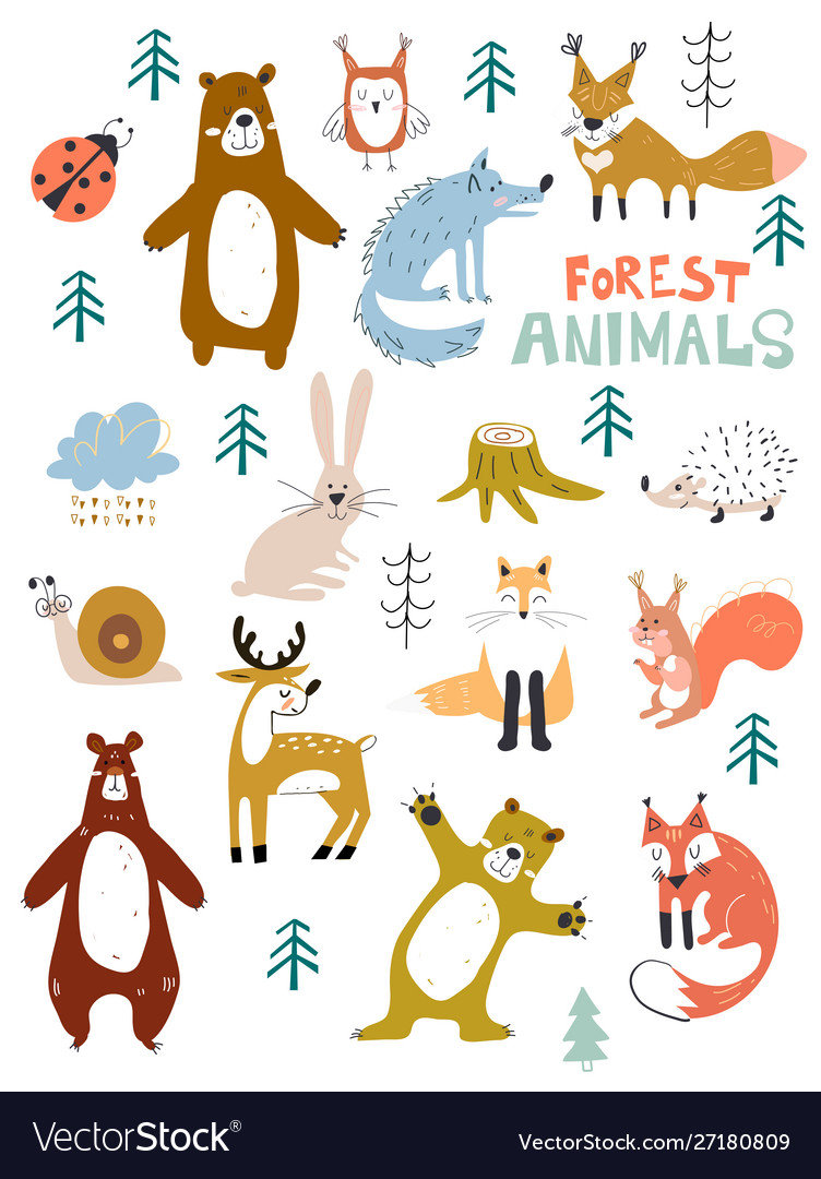 Woodland animals character great for