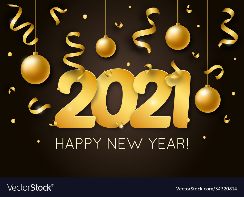 2021 happy new year with 3d realistic numbers and vector