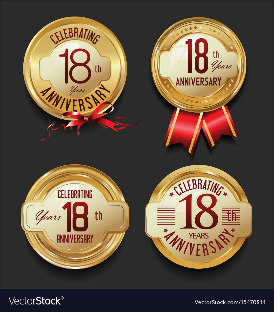 Anniversary retro golden labels collection 18 vector image