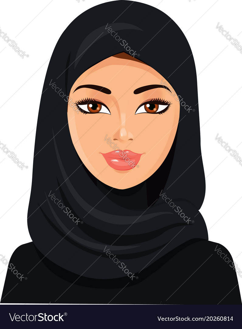 Beautiful muslim woman in black hijab isolated on vector image