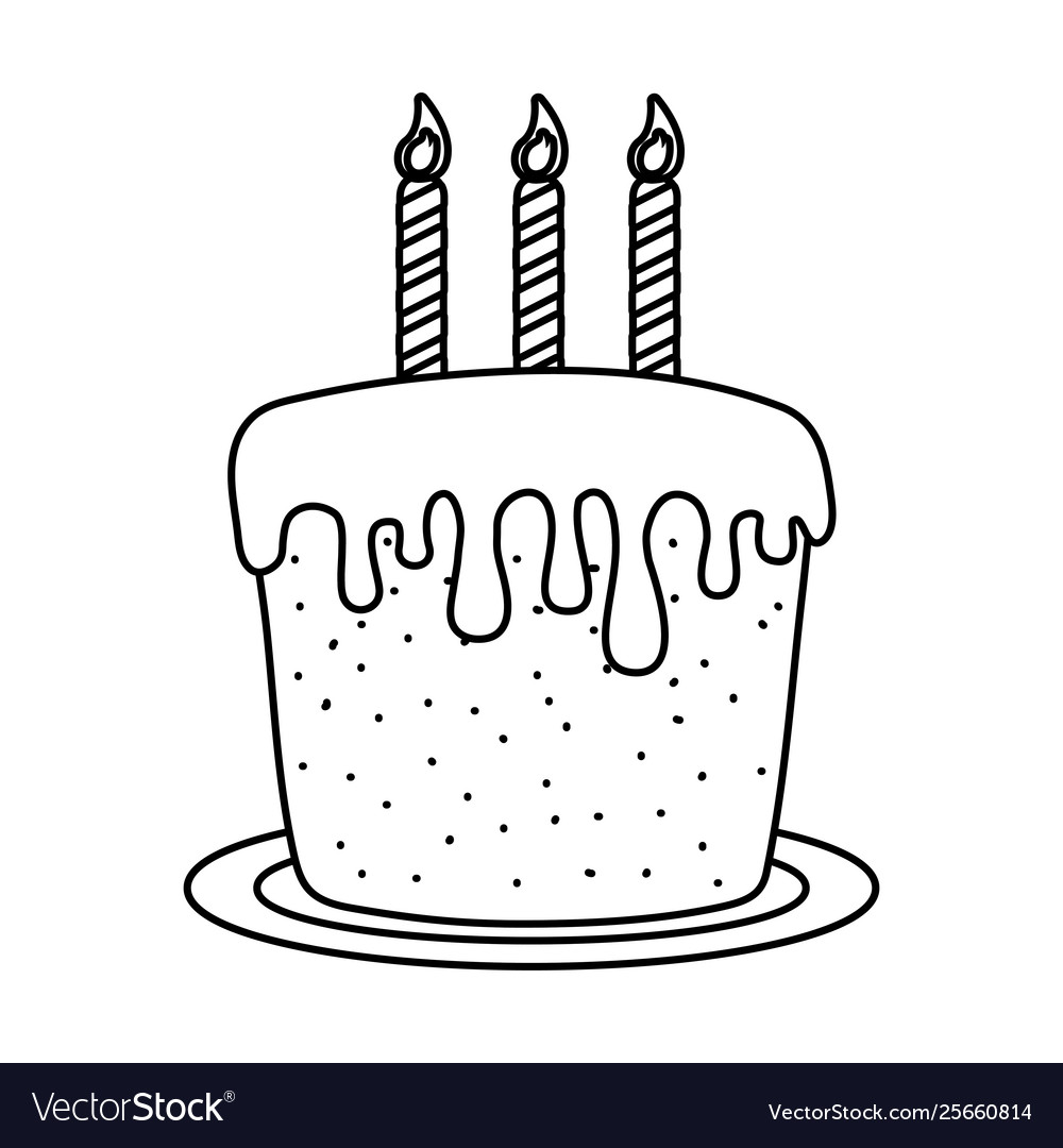 Prime Birthday Cake With Candles Black And White Vector Image Funny Birthday Cards Online Alyptdamsfinfo
