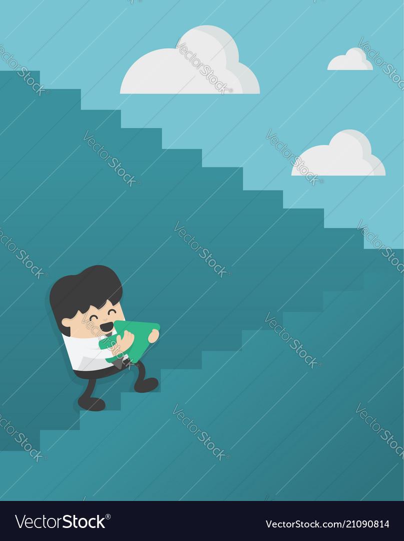 Business concept cartoon businessman walking up