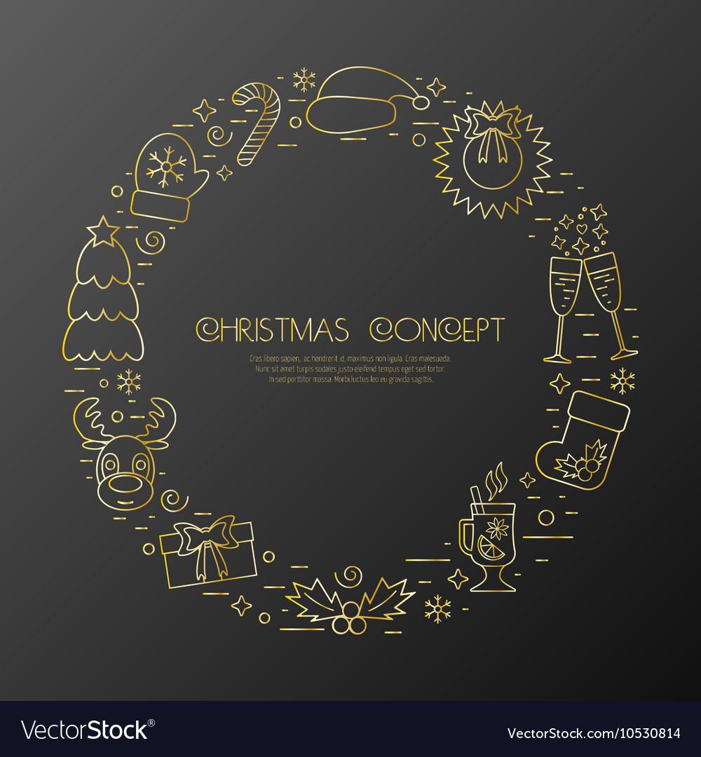 Christmas holidays circle frame with traditional
