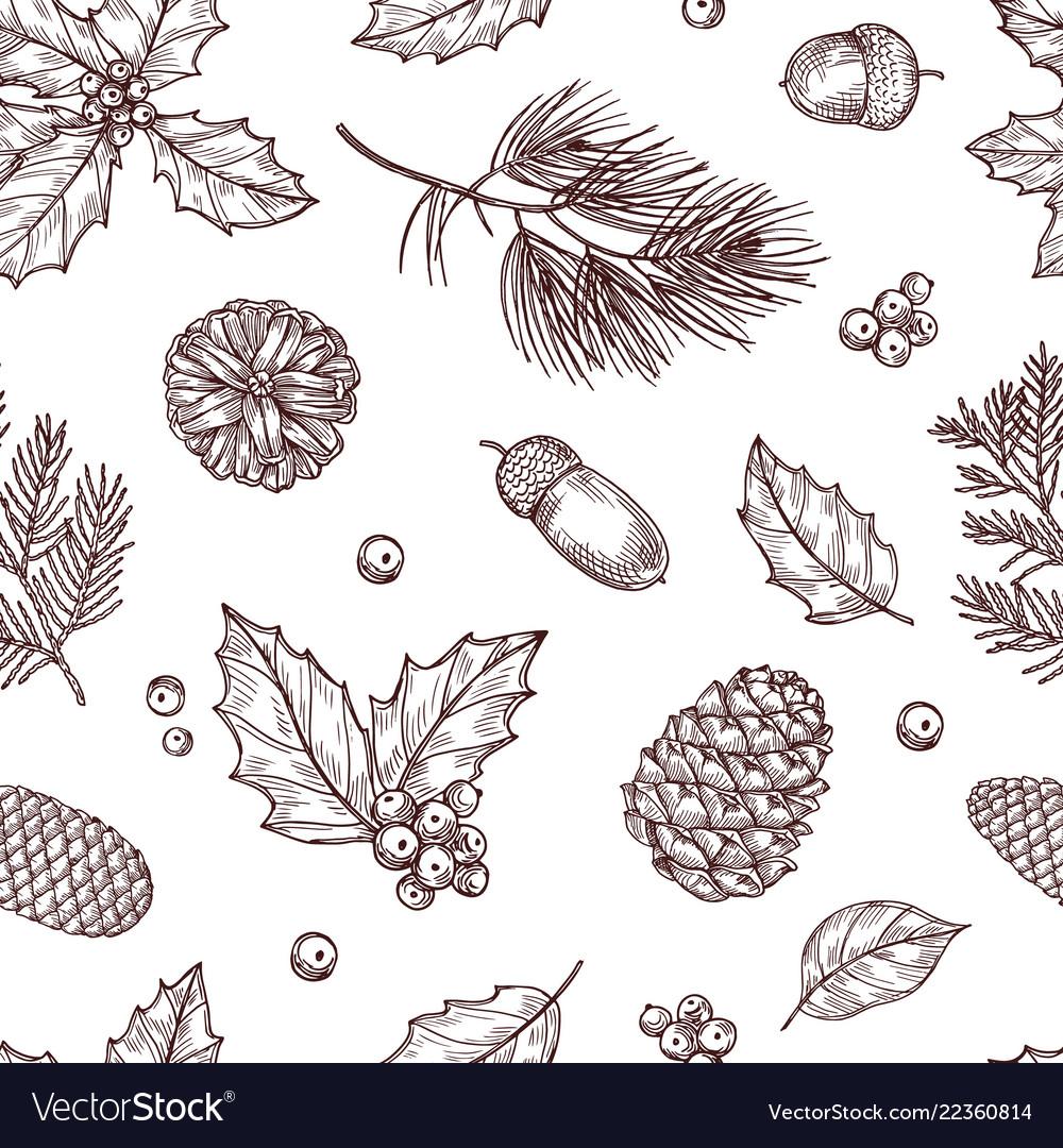 Christmas seamless pattern winter fir and pine
