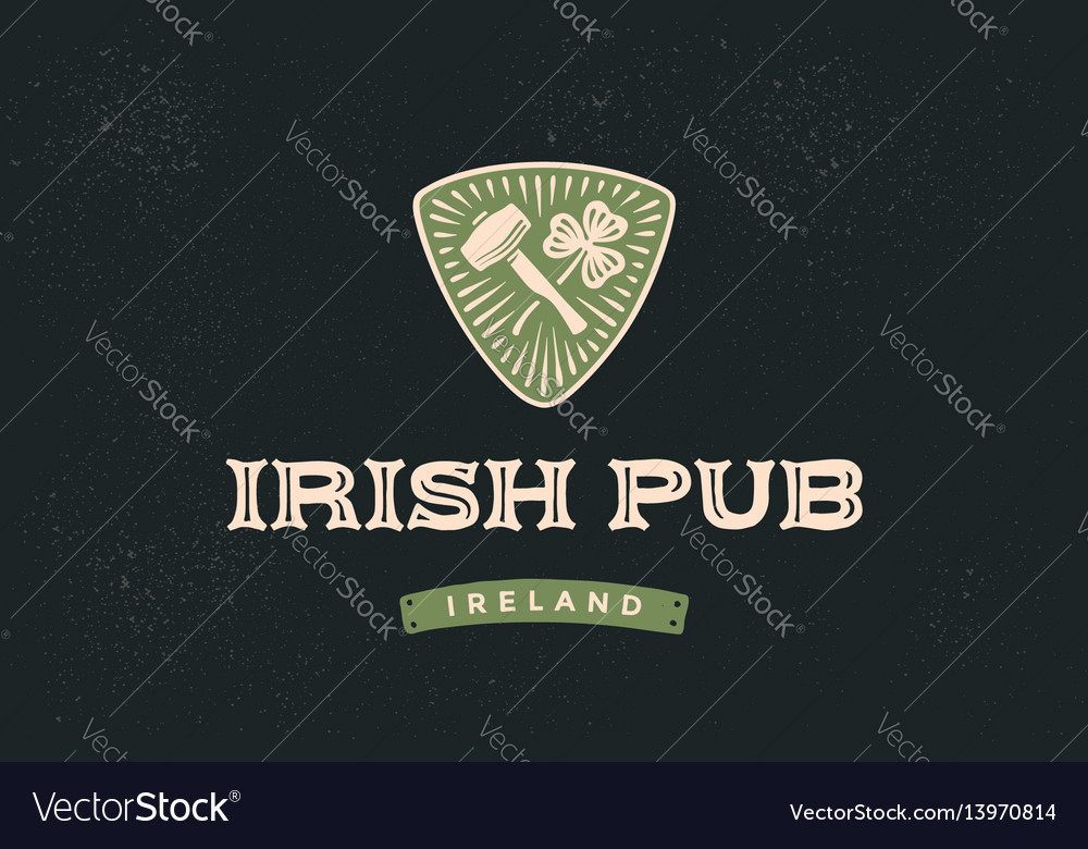 Classic retro styled label for irish pub