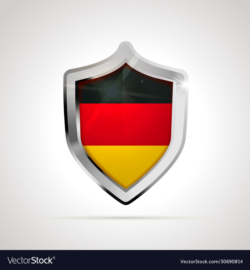 Germany flag projected as a glossy shield on a