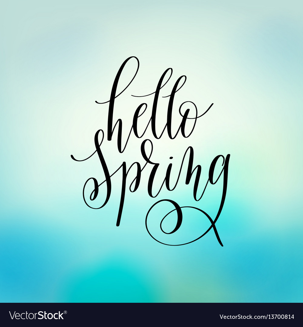 Hello spring hand lettering poster calligraphy