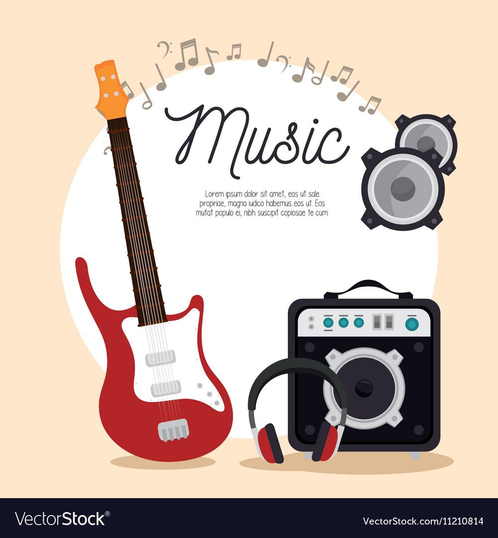 Music electric guitar speaker headphone note