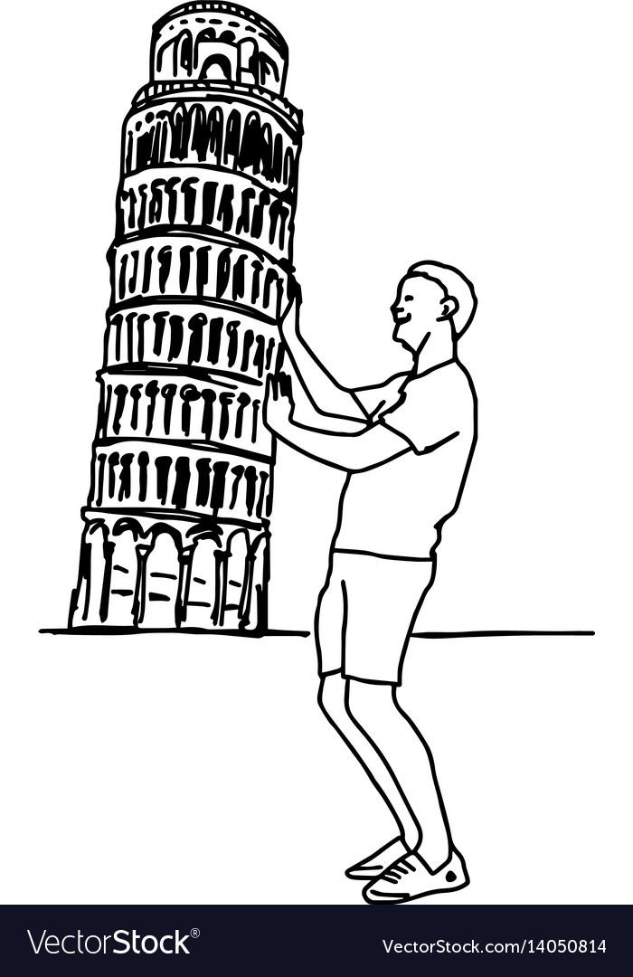 Tourist push leaning tower of pisa